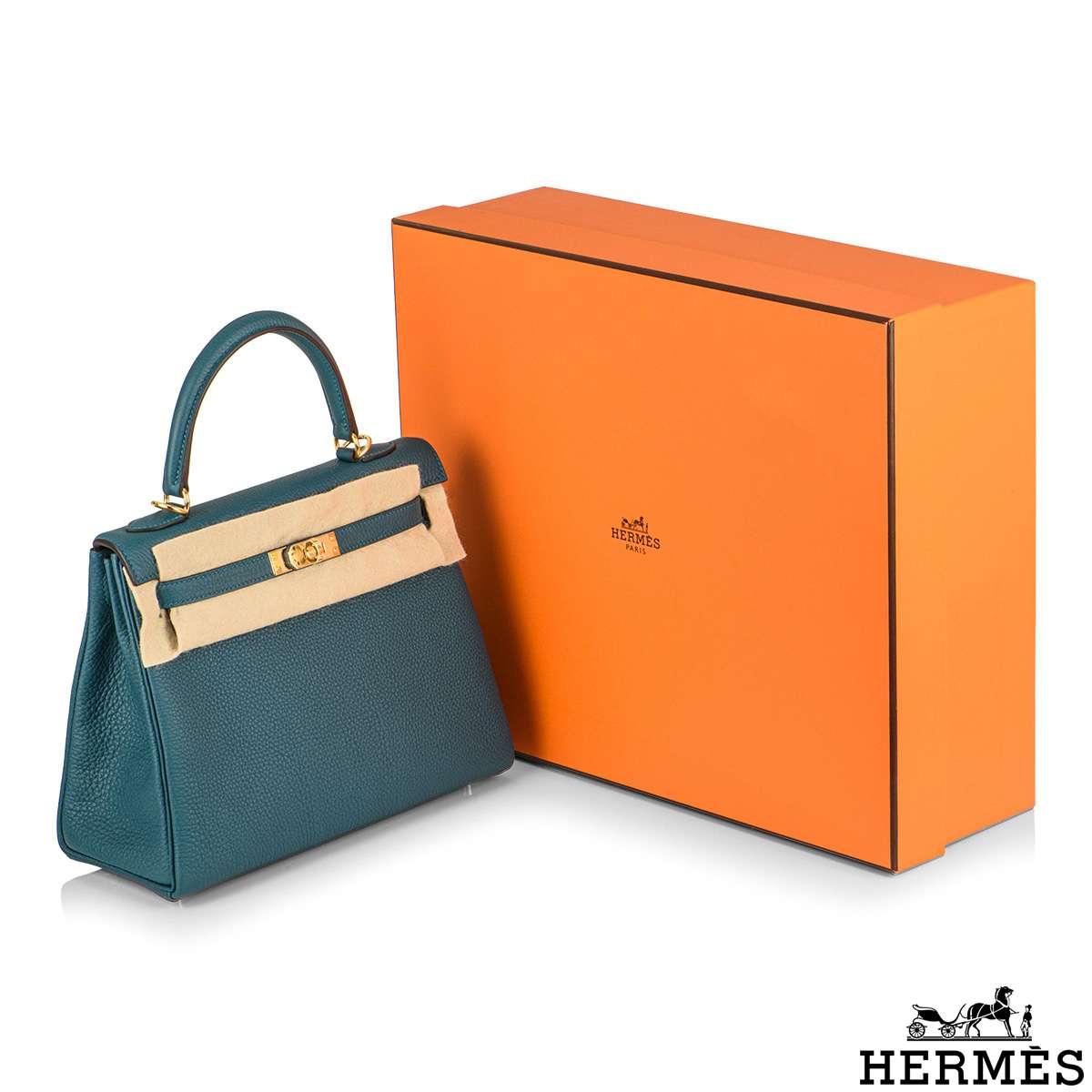 Hermès Kelly II Retourne 28cm Vert Bosphore Togo Handbag
